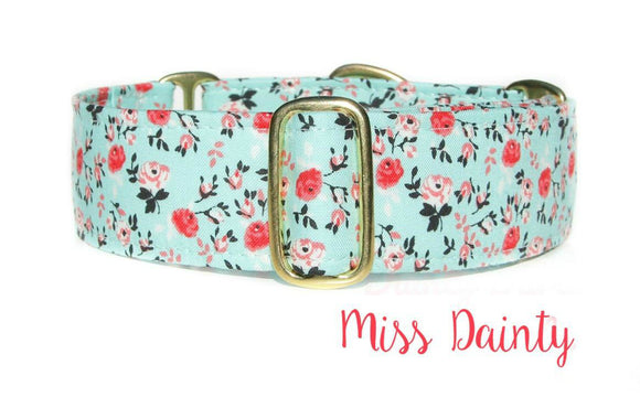 Mint Floral Martingale Dog Collar, Ready to Ship, Size Large 13-17