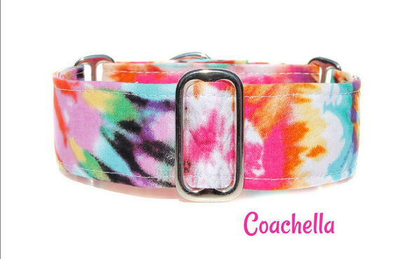 Colorful Tie Dye Martingale Dog Collar, 1.5