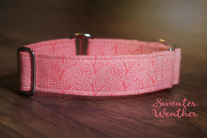 "Sweater Look Coral / Peach Martingale Dog Collar, 1.5"" Wide Ready to Ship, Size Large 13-17"""