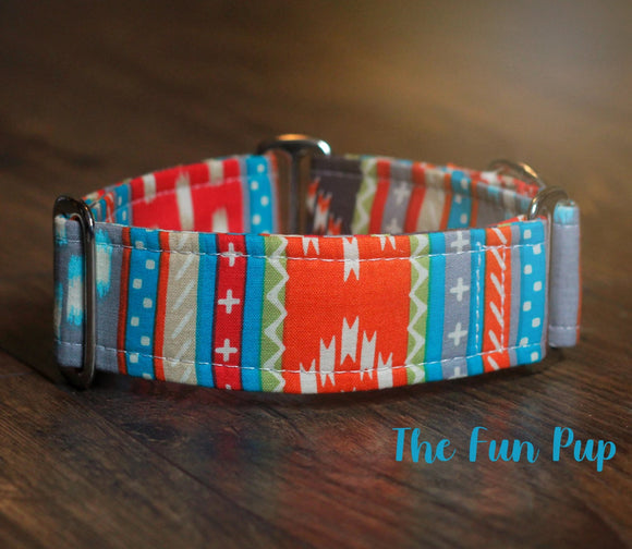 2 Inch Wide Tribal Aztec Martingale Dog Collar,  Ready to Ship, Size Large 13-17