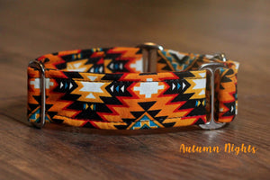 "Orange Tribal Aztec Martingale Dog Collar, 1.5"" Wide Ready to Ship, Size Large 13-17"""