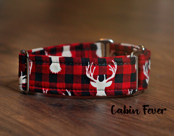 Hipster Antlers Plaid Dog Collar