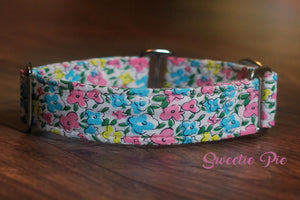 "Feminine Floral Martingale Dog Collar, 1.5"" Wide Ready to Ship, Size Large 13-17"""