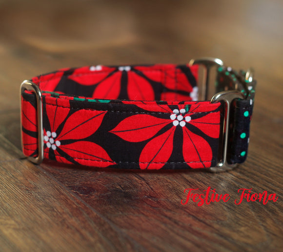 Poinsettia Christmas Dog Collar