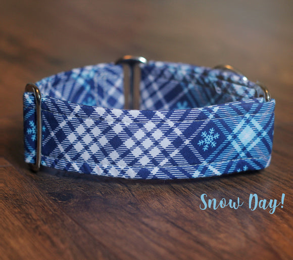 Blue Plaid Winter Dog Collar