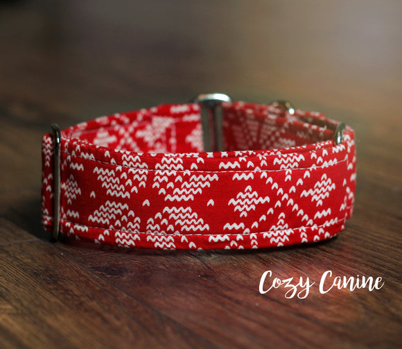 Nordic Red Snowflake Christmas Dog Collar
