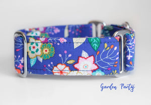 "Navy Blue Flowers Martingale Dog Collar, 1.5"" Wide Ready to Ship, Size Large 13-17"""
