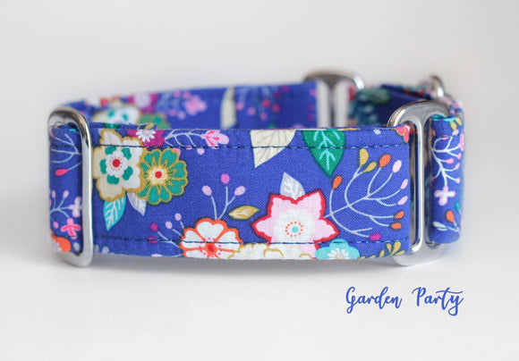 Navy Blue Flowers Martingale Dog Collar, 1.5