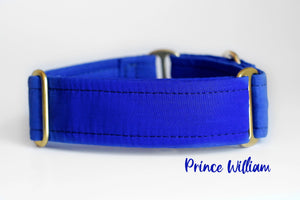 "Royal Blue Solid with Brass Hardware Martingale Dog Collar, 1.5"" Wide Ready to Ship, Size Large 13-17"""