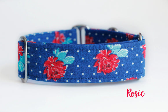 Red Floral Roses Martingale Dog Collar, 1.5