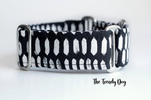 "Black and White Diamonds Martingale Dog Collar, 1.5"" Wide Ready to Ship, Size Large 13-17"""