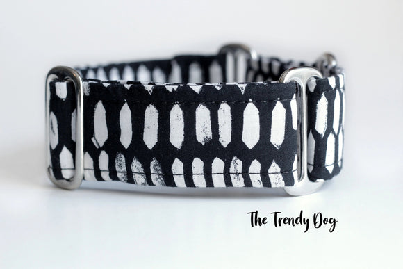 2 Inch Wide Black and White Diamonds Martingale Dog Collar, Ready to Ship, Size Large 13-17