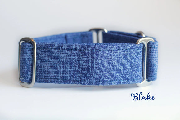 Solid Blue Martingale Dog Collar, 1.5 Inch Wide Ready to Ship, Size Large 13-17