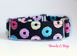 "Fun Colorful Dounts Martingale Dog Collar, 1.5"" Wide Ready to Ship, Size Large 13-17"""