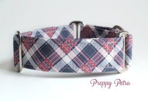 "Purple Plaid Martingale Dog Collar, 1.5"" Wide Ready to Ship, Size Large 13-17"""