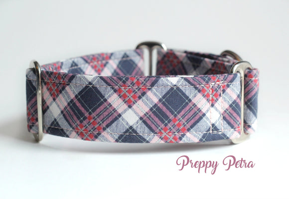 Purple Plaid Martingale Dog Collar, 1.5