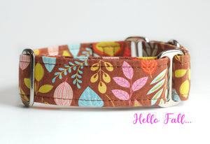 "Vintage Floral Martingale Dog Collar, 1.5"" Wide Ready to Ship, Size Large 13-17"""
