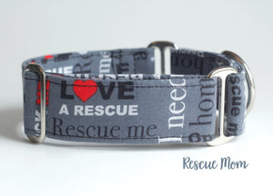 "Rescue Dog Martingale Dog Collar, 1.5"" Wide Ready to Ship, Size Large 13-17"""