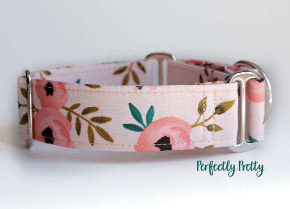 Whimsical Floral Martingale Dog Collar, 1.5