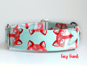 "Fox Martingale Dog Collar, 1.5"" Wide Ready to Ship, Size Large 13-17"""