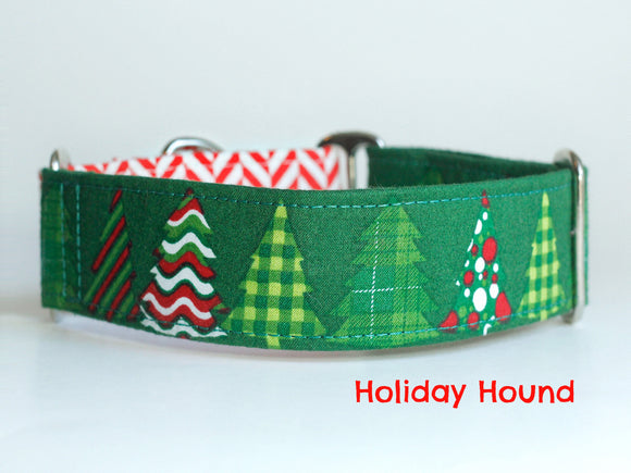 Green Christmas Tree Dog Collar