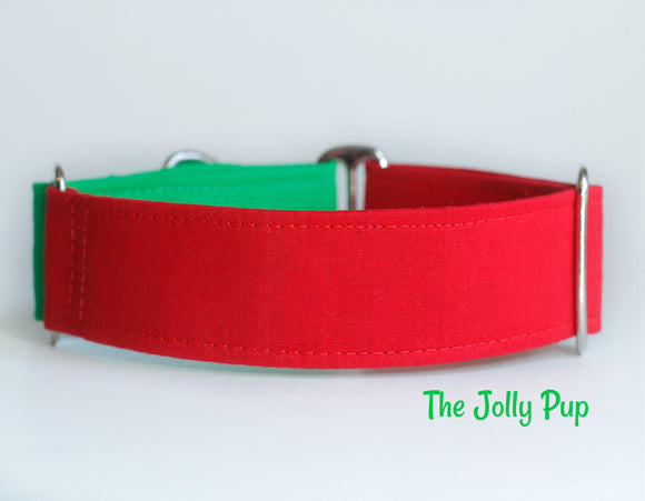 Red Green Christmas Martingale Dog Collar - Ship Ready, 1.5