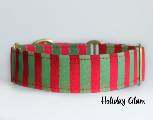Christmas Stripes Martingale Dog Collar - Ship Ready, 1.5