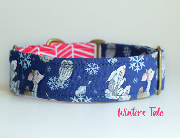 Winter Woodland Scene Dog Collar With Pink Accent Loop