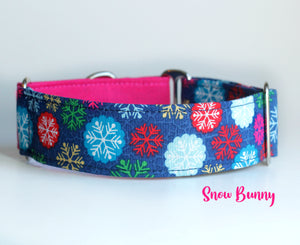"Pink Snowflakes Martingale Dog Collar - Ship Ready, 1.5"" Wide, Size Large 13-17"" - Brass Hardware"