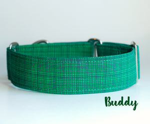 "Solid Green Martingale Dog Collar - Ship Ready, 1.5"" Wide, Size Large 13-17"""