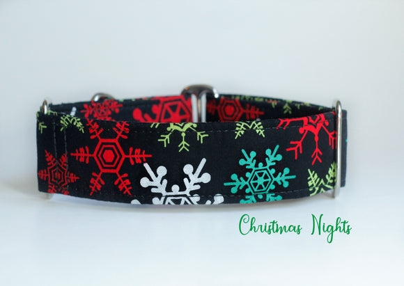 Black Colorful Snowflakes Martingale Dog Collar - Ship Ready, 1.5