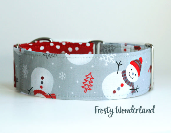 2 Inch Christmas Snowman Martingale Dog Collar, Ready to Ship, Size Large 13-17