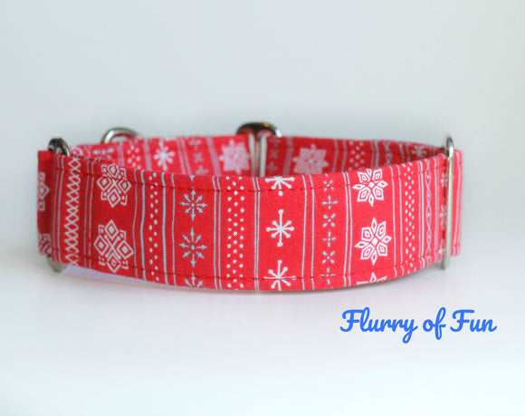 Red Winter Martingale Dog Collar - Ship Ready, 1.5