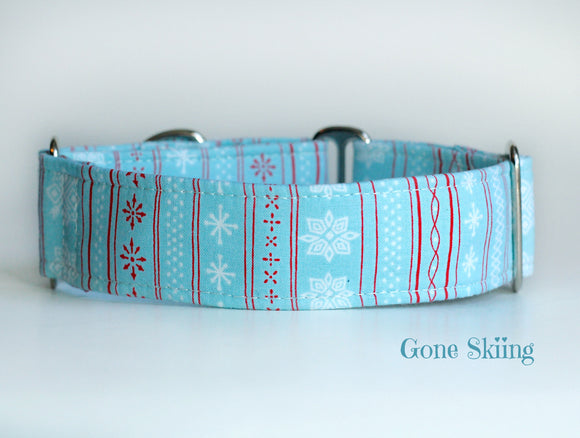 Blue Winter Martingale Dog Collar - Ship Ready, 1.5