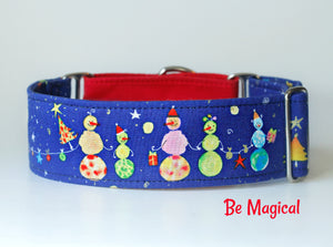 Winter Snowman Martingale Dog Collar - Two Tone Red Accent - 2 Inch Option Only.