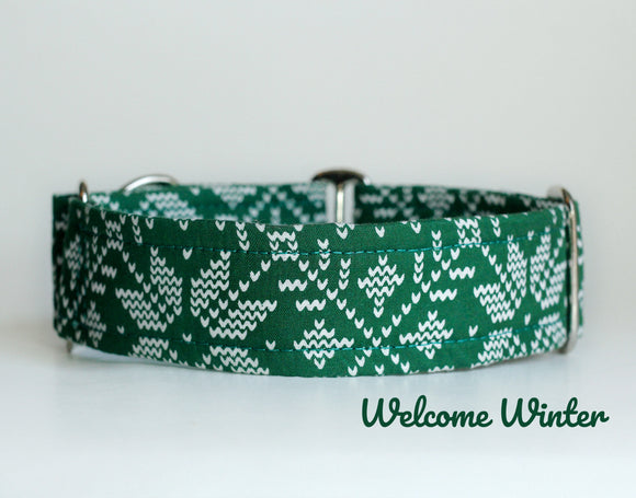 Green Winter Martingale Dog Collar - Ship Ready, 1.5