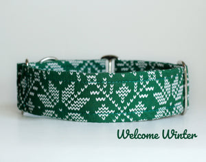 Hunter Green Knit Look Dog Collar