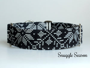 Black Winter Knit Look Dog Collar