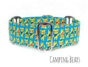 "Camping Bears Martingale Dog Collar, 1.5"" Wide Ready to Ship, Size Large 13-17"""