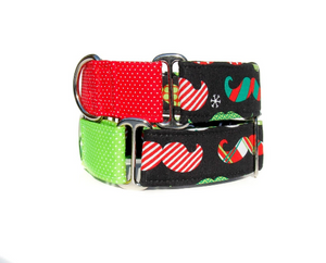 "Christmas Mustaches - 1.5 Inch Large (13-17"") Martingale Collars Ready to Ship - Your Choice!"