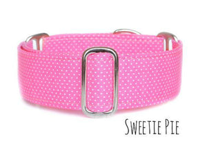 "Pink Polka Dot Martingale Dog Collar, Ready to Ship, Size Large 13-17"" - 2 Inch Wide"