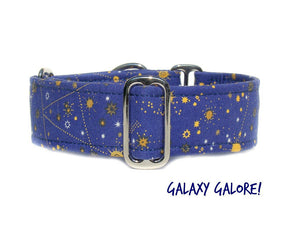 "Galaxy Blue Martingale Dog Collar - Ship Ready, 1.5"" Wide, Size Large 13-17"""