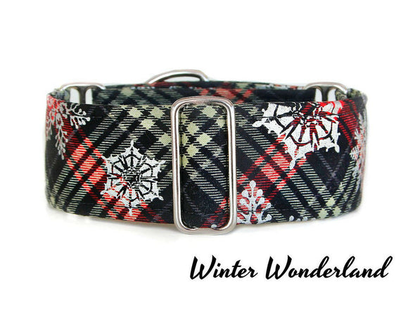 Black Snow Plaid Dog Collar