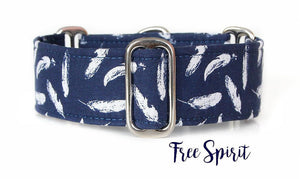 Navy Blue Feathers Dog Collar