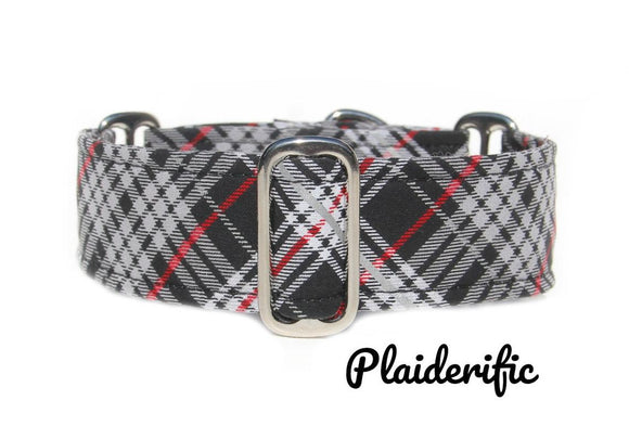 Black Plaid Martingale Dog Collar, 1.5