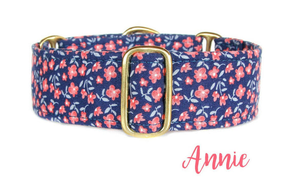 Floral Martingale Dog Collar, 1.5 Inch Wide Ready to Ship, Size Large 13-17