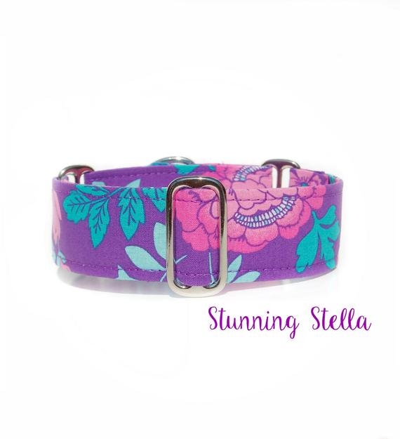 Purple Floral Martingale Dog Collar, 1.5