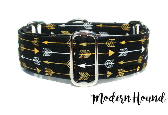 Hip Black and Gold Dog Collar