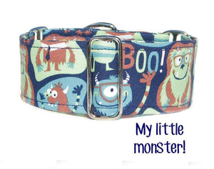 "Blue Monsters Martingale Dog Collar, 1.5"" Wide Ready to Ship, Size Large 13-17"""