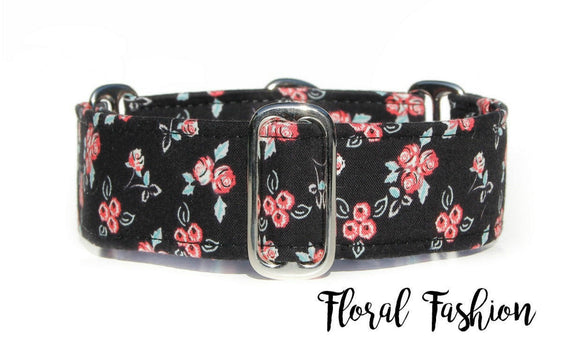Black Floral Martingale Dog Collar, 1.5